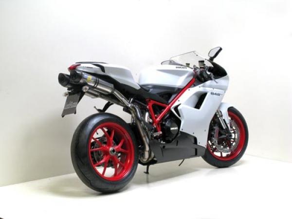 SBK Komplettanlage Factory Evo2 Titan (Volltitaninnenschalldämpfer) mit Carbon Endkappe Ducati 848 / 1098 mit EG-ABE
