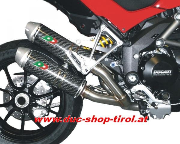 """2-1-2 Komplettanlage """"Hard Rock"""" mit Schalldämpfern vom Typ """"Magnum"""" Carbon Ducati Multistrada 1200 (ab Bj. 2010)"""